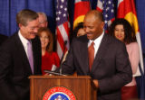 (DENVER COLO, December 8, 2004) Gov. Bill Owens (left) released the 2004 School Accountability...