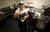 (DENVER, Co., SHOT 9/1/2004) Rioja co-owner and executive chef Jennifer Jasinski cracks a few eggs...