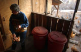 [(Durango, CO, Shot on: 11/23/04)] Kay James collects eggs from her 115 range fed  chickens that...