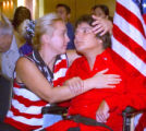 Dace Abele Sultanov (cq), left, embraces her husband, Van Cliburn medalist Alexei  Sultanov (cq),...