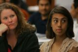 Rachel Chavez (cq), 17, right, with her mom, Natalie Hill, left, at an orientation at the Daniels...
