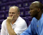 **SPECIAL FOR THE ROCKY MOUNTAIN NEWS** Head Coach George Karl, with the Denver Nuggets, watches a...