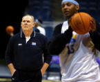 WIRK902 - SPECIAL FOR THE ROCKY MOUNTAIN NEWS--Denver Nuggets head coach George Karl watches as...