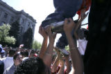 A group of students tried to get to the highest perch by climbing up each other to rally high...