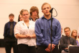 (FOREGROUND CENTER) Thornton High School student Leo Schoeninger (CQ), 17, of Thornton, asks a...