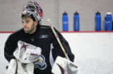 Jose Theodore rests at Avs practice at the South Suburban family Sports Center in Centennial,...