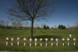 Thirteen crosses were set in place for those who died in the Columbine High School Shootings in...