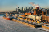 (MONTREAL, CANADA: JANUARY 27, 2005) The Montreal skyline on the distant horizon seems dawfed by...