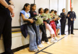 A group of fifth grade Harrington Elementary girls (left to right, all cq) Sandra Ibarra, Crystal...