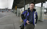 At the RTD Park and Ride at I-25 and Broadway light rail rider Curt Moran (cq) is surpised to be...