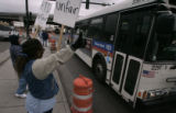 RTD bus driven by a contract worker heads back to RTD Park and Ride at I-25 and Broadway as light...