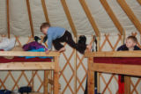 Five-year-old Seth Greer (center) and his brother, Owen, 2, check out the bunks in the Clark Peak...