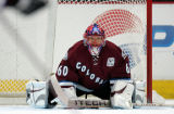 Colorado Avalanche Goaltender  Jose Theodore makes his debut with the Avalanche after starting...