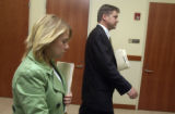 Castle Rock, Colo.-January 13,2005- L to R: Coreyanne Townsend leaves Douglas County court with...