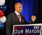 LAAB112 - New Orleans Mayor Ray Nagin speaks to supporters at his party on election day in New...