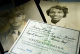The marriage certificate and pictures of George Junne's parents.  George Junne explains some new...