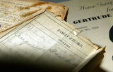 Handwritten family records are kept in a Bible handed down through generations since the late...