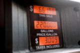 A fuel pump at the Flying J truck stop in Aurora displays the cost truckers are having to deal...