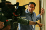 "Director James Seale directs a scene for the movie, ""Juncture"", at Centennial Medical..."