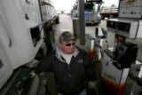 Jamie Klein, cq, co-owner of Quad Logistics fuels his truck Tuesday Apr. 25, 2006 at the Flying J...