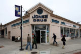 Pedestrians cross the front of Jones Drug in Boulder Tuesday, April 25, 2006. Jones Drug will...