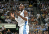 Denver Nuggets forward Ruben Patterson, shows his frustration as he argues a foul call in the...