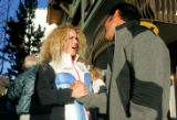 Sarah schleper (cq), left, greets Toby Dawson (cq), before Dawson was honored by the city of Vail...