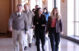 Brian O'Connell (left) walks into Jefferson County Court in Golden on Monday March 27,2006. He was...