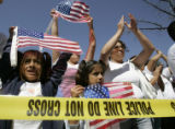 (L-R) Arendi Reynoso 8, Brenda Reynoso,16, Miranda Reynoso,8, and their mother Flor Reynoso, all...