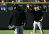 Barry Bonds, of the San Francisco Giants, in the outfield before tonight's game against the...