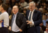 Denver, Colo., photo taken March 26, 2005- Denver Nugget's head coach, George Karl (cq left) and...