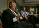In Denver, Colo. 5/3/06, Harry Whipple (r) is the new President and CEO of the Denver Newspaper...