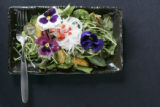 Chef Jon Pell made dishes using edible flowers for DIG which was shot at his Sunflower Restaurant...