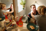 (Vernal, Utah) Jonathan and his wife Amber make up in the bathroom after getting in a small fight...