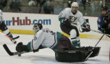 JPM390   The Mighty Ducks of Anaheim  goalie Ilya Bryzgalov leaps on the puck as Colorado...