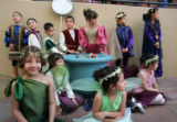 "Traylor Academy students wait for their turn to perform a scene from ""A Midsummer Night's..."