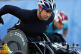 Eventual winner Saul Mendoza (cq) of Mexico City, Mexico takes off from the starting line in the...
