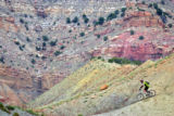 "Bob Fuziak (cq) of Jackson, Wyo. makes his way through some singletrack on ""Zippety Do..."
