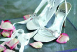 Shoes worn by Trista Rehn during her wedding with Ryan Sutter in Palm Springs, Calif. in 2003....