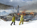Photo from scene of fire and explosion Saturday, March 19, 2005 at Electric Mountain Lodge in...