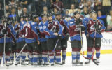 JPM1512   Colorado Avalanche from right, Joe Sakic, #19, Brad May, #10, Ian Laperriere, #14, and...
