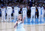 Lyndie Moe, 8, grandaughter of former Denver Nuggets head coach and current assistant coach Dough...