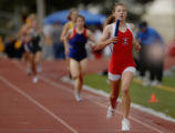 Kirstin Lake(cq), of Chaparrel High School runs to the finish line to win the finals of the Girls...