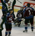 Dallas Stars's Brenden Morrow, #10, top left, celebrates the Stars's third goal by Bill Guerin as...