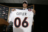 Denver Broncos' first round draft pick, 11th overall, Vanderbilt QB Jay Cutler (cq) holds up his...