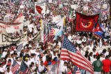 Marchers began a pro-immigrant march at Viking Park in Denver, Colo. Monday morning May 1, 2006....