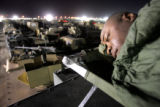 04/03/2005 Iraq-SGT Fabian Ernest, 25, with the 3rd Armored Cavalry Regiment's Headquarters and...