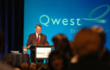 (DENVER COLO., May 25, 2004 )  Richard Notebaert, CEO of QWEST, greats stock holders at QWEST's...