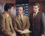 (Denver, Colorado, 1975)  Left to rt:  Stormy Rottman, weatherman, Tony Pepper, and Roger Ogden at...