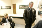 (Estes Park shot on 3/22/05) David Habecker(CQ-Habecker)(right) speaks to the media while his wife...